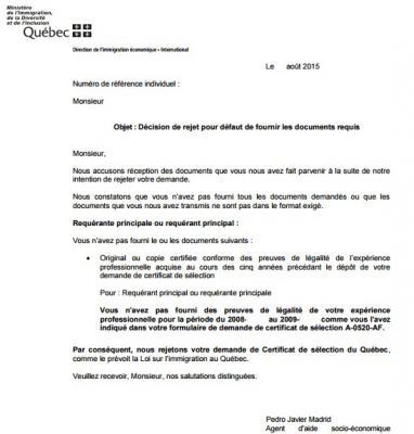 Decision De Rejet Pour Defaut De Fournir Les Documents Requis